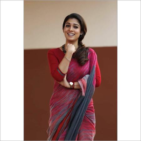 Hand block Ladies Red Cotton Silk Saree