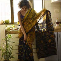 Hand block Ladies Yellow Silk Saree