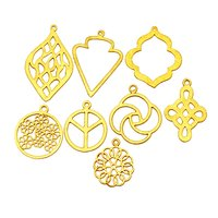 Brushed Gold Plated Marquise Shape Metal Charms Pendant