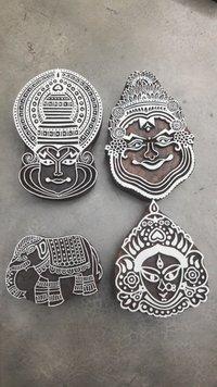 kathakali wooden printing blocks with animal 4 pcs pack for fabric printing