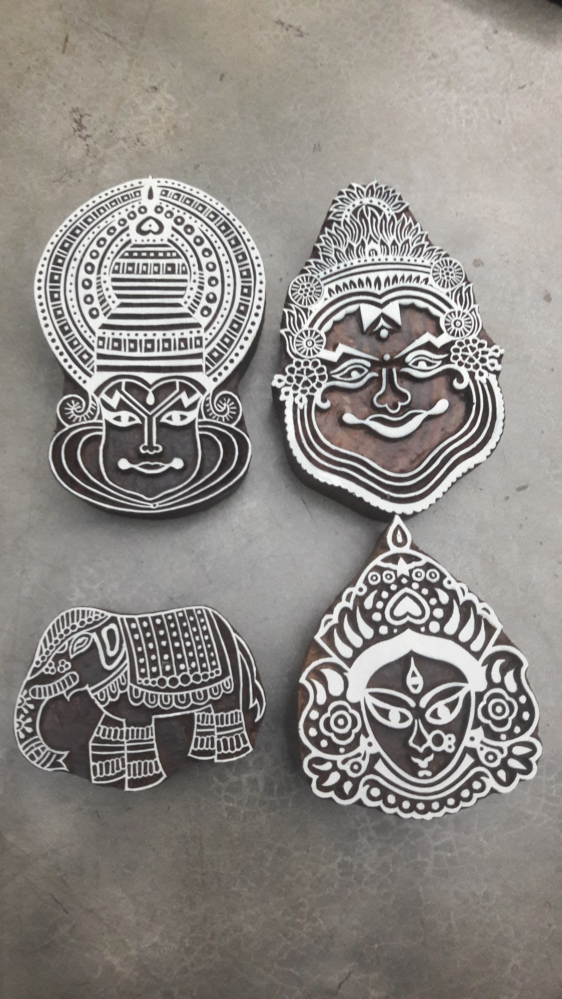 830d97f4f6a0 kathakali wooden printing blocks with elephant design 4 pcs pack for fabric  printing