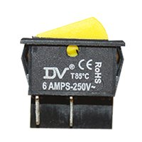 DV Rocker Switch, DPST, 6amp, 250vac, 4 Pins Without Light, Yellow, 1pcs