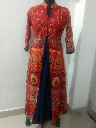 Rajasthani Printed Rayon Long Dress