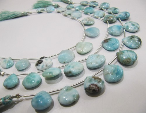 AAA Quality Natural Larimar Smooth Heart Shape beads