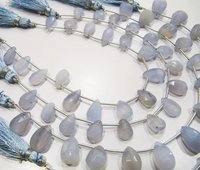AAA Quality Natural Blue Chalcedony Pear Shape Beads