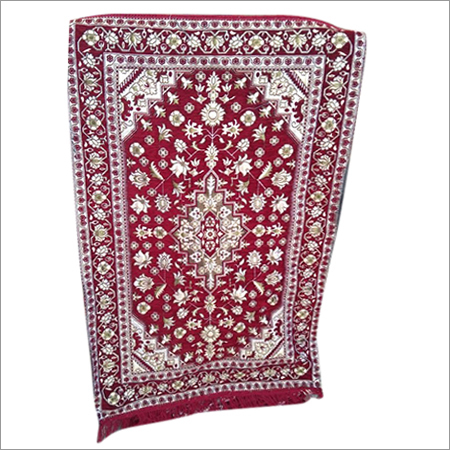 Chenille Red Janamaz Prayer Rug