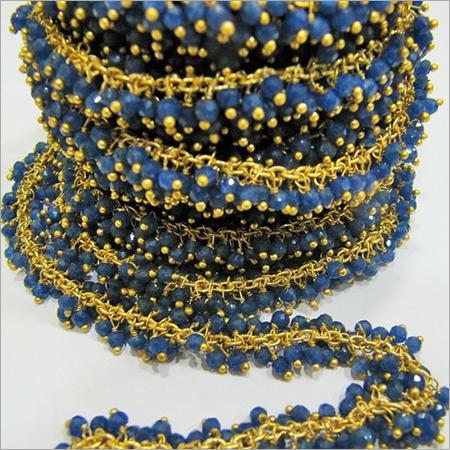 Charms Genuine Sapphire Dangling Beaded Chain