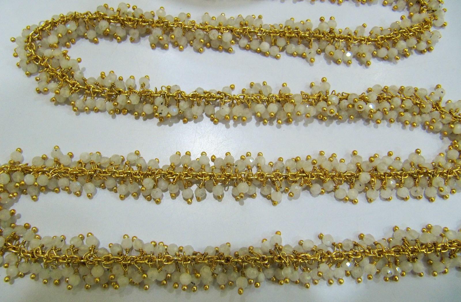 Genuine white Moonstone Dangling Beaded Chain