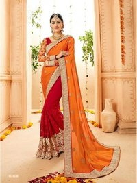 Attractive Red N Orange Faux Georgette Bridal Saree