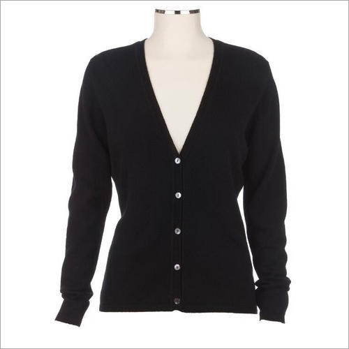 Ladies Plain Black Cardigan