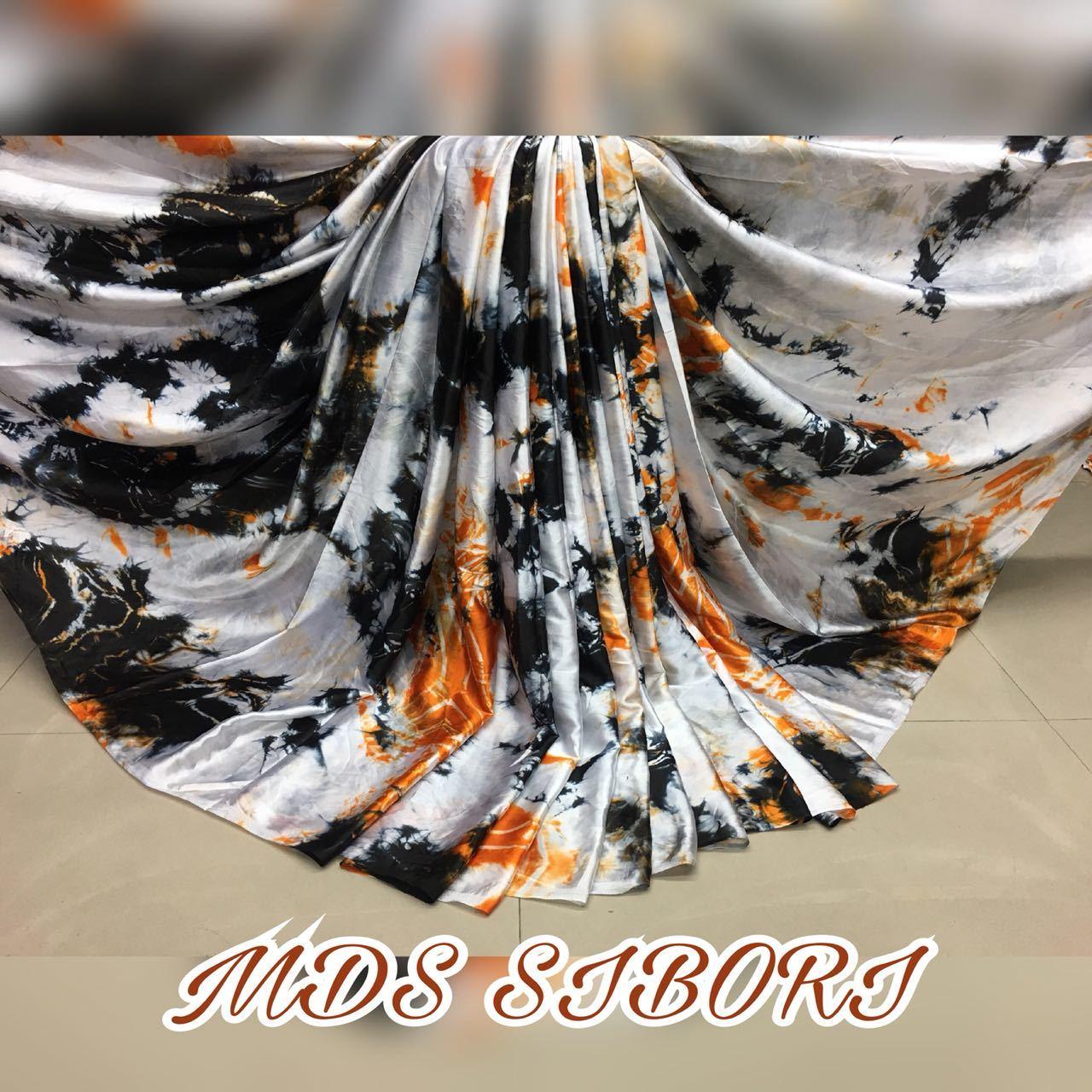 Pure Sattin saree with sibori print