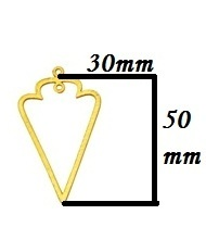 Brushed Gold Plated Arrow Shape Metal Charms Pendant -50x30mm Long Earrings Findings Charms