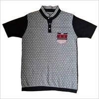 3 Button Placket Flat Knitted Men's T-Shirt