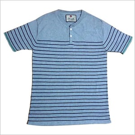3 Button Placket Flat Knitted T-Shirt