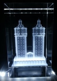 3D Building Engraved in Crystal