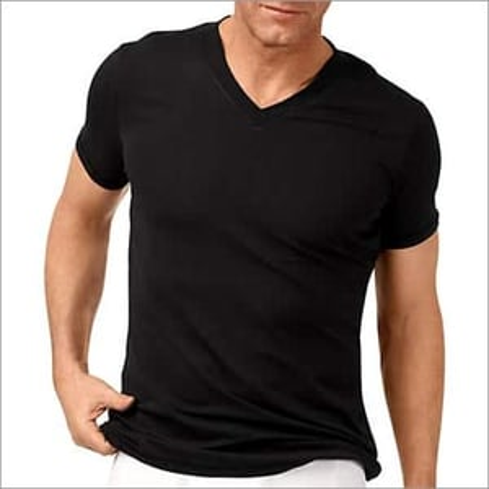 Black Mens V Neck T Shirt