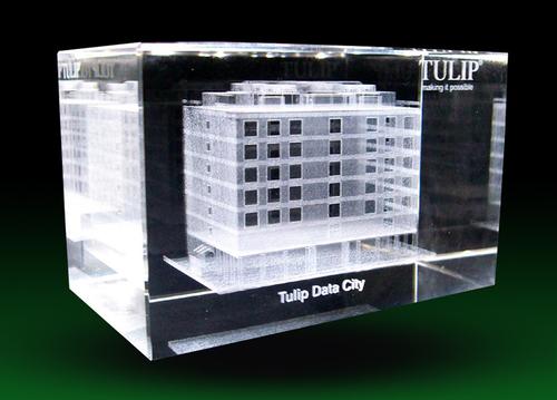 3d Building Model Crystal Cube