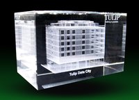 3d Building Model Crystal Cube