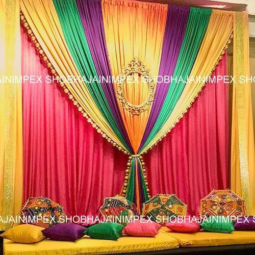 Colour Full Embroidered Drapes for Mehndi Decor