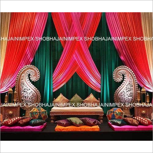 Multicolor Backdrop And Furniture For Sangeet
