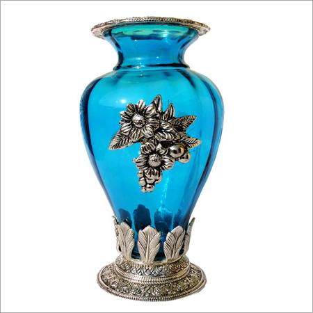 Oxidized Glass Metal Flower Vase