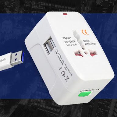 Travel plug with dual USB port