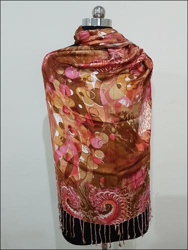 Brown Printed Pashmina Shawl