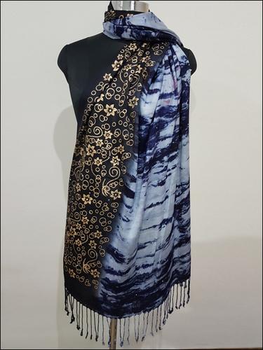 Designer Shawl Gold Print And Tye Dye
