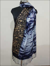Designer Shawl Gold Print And Tye Dye