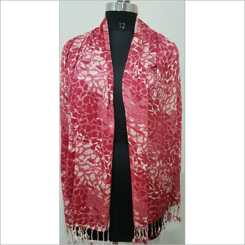 Red Printed Ladies Stole And Scarf