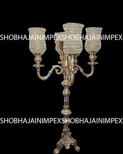 Four Arms Crystal Chimney Wedding Candelabra