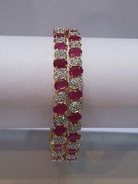 Pink & White American Diamond Bangles
