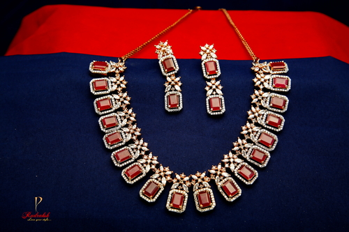 Heavy Pattern American Diamond Necklace Sets