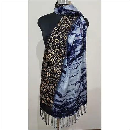 Designer shawl gold printed tye & dye