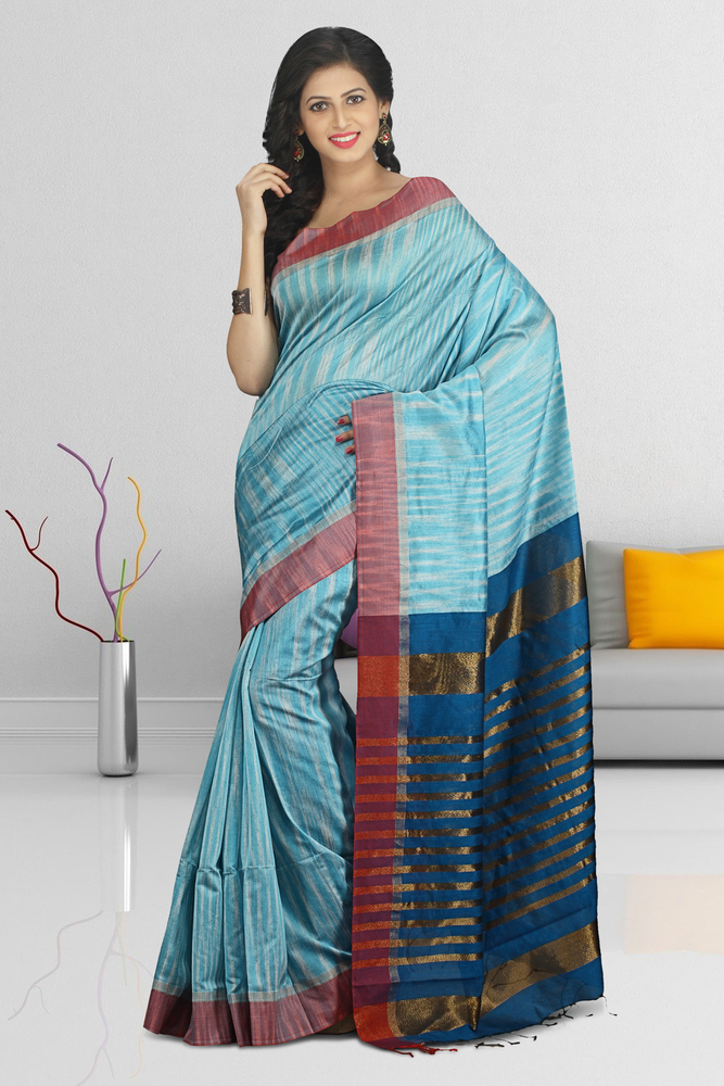 a0efd5b41903d9 Buymyethnic Woven Tant Cotton Silk Saree (Sky Blue) - Buymyethnic ...
