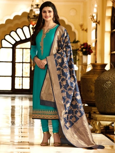 Wkart Blue Georgette Straight Semi-Stitched Suit