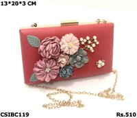 PU Floral Box Clutch