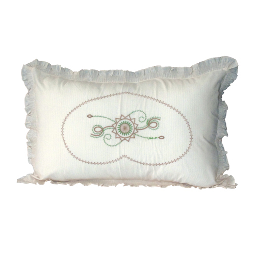 Centre Embroidery Frill Pillow Cover