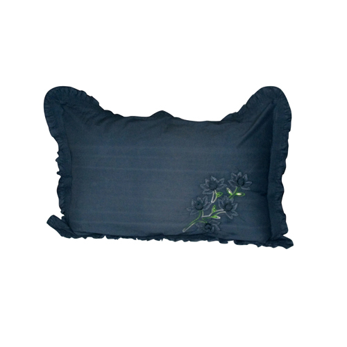 Dark Embroidery Frill Pillow Cover