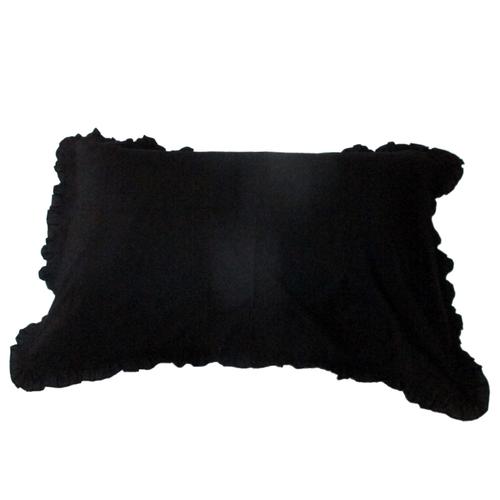 Dark Plain Frill Pillow Cover