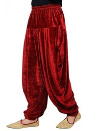 Red Velvet Solid Men Wedding Dhoti