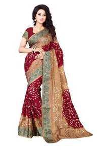 Bhagalpuri Silk Bandhani Saree