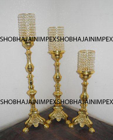 Set of 3 Metal Candlabras