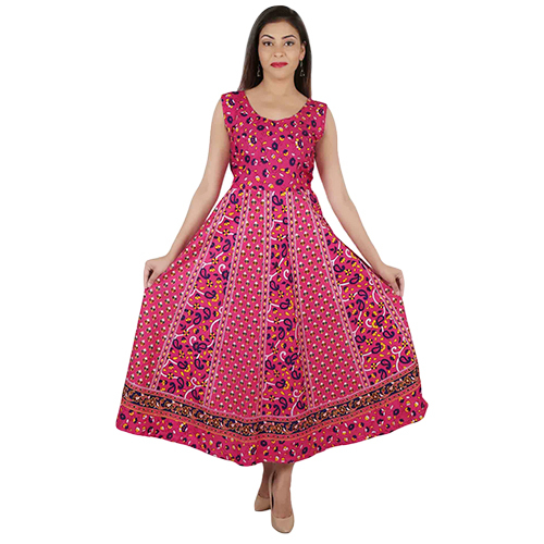 Jaipuri Print Party Wear Maxi Dress