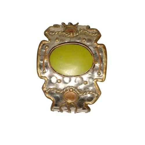 Brass Stone Cuff Bracelet