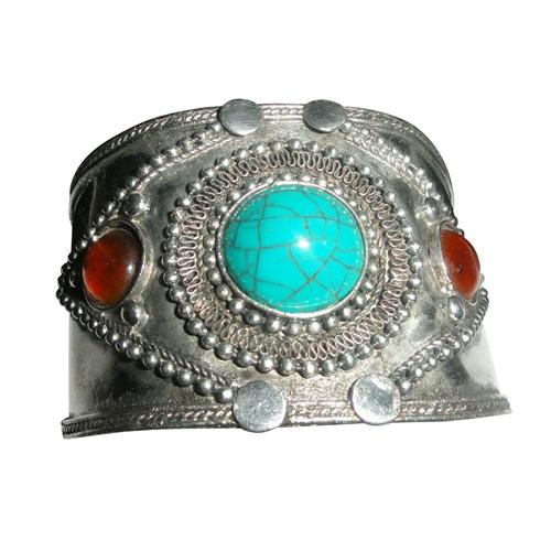 Silver Stone Cuff Bracelet