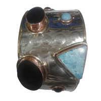 Metal Stone Cuff Bracelet