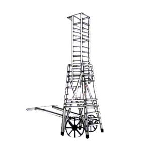 Aluminum Square Type Tower Ladder With Big Iron Wheel