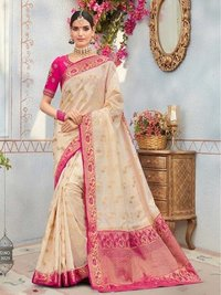 White Silk Thread Wedding & Bridal Wholesale Designer Saree Brand: Kessi