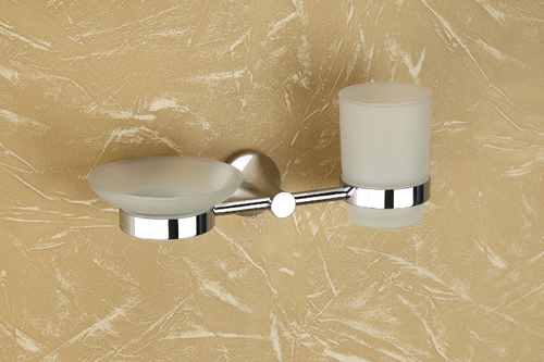 Brass Glass Soap Dish & Tumbler Holder (Combo)